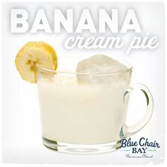 Blue chair bay banana cream pie 2 oz. Blue Chair Bay Banana Rum 2 oz. clear creme de cacao liqueur 2 oz. half and half Pour ingredients over ice and stir. Garnish with a banana slice rolled in sugar.