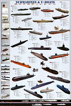 Submarines and U-Boats Poster 24 x 36in EuroGraphics