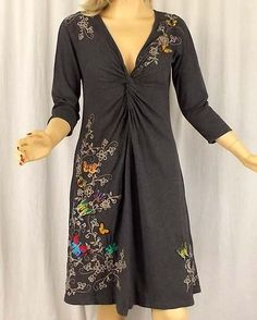 Johnny Was s Grey Butterfly Floral Embroidered Twist Front Cotton Knit Dress | eBay