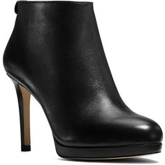 Michael Michael Kors Sammy Platform Leather Ankle Booties (3 915 UAH) ❤ liked on Polyvore featuring shoes, boots, ankle booties, booties, black, black leather booties, black high heel booties, platform booties, black leather boots and leather high heel boots