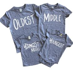 Sibling set of 4 – Siblings matching shirts – Big middle little – Pregnancy announcement baby – Baby nr 4 reveal – Pregnancy shirts - BABY ANNOUNCEMENT Sibling Shirts, Sister Shirts, Pregnancy Shirts, Family Shirts, Pregnancy Tips, Brother Sister, Sibling Memes, 4th Baby Announcement, New Baby Announcements