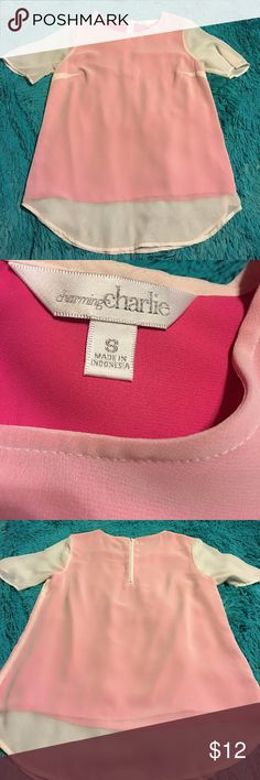 Charming Charlie pink lined sheer top. S Pre-owned charming Charlie short sleeve top. Pink lining with  white sheer covering. Zip back. Size small. Charming Charlie Tops Tees - Short Sleeve