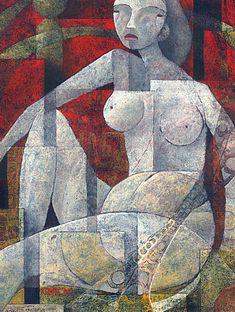 "Galleria scorrevole.                                        Sergio Cerchi, italian painter (Firenze), ""Nude"", gouache."
