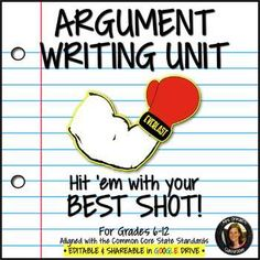 Argument Writing UNIT Common Core Grades Editable: Teach your students to write solid argument essays step-by-step with my Argument Writing unit. It is aligned with the Common Core State Standards for grades Vocabulary Activities, Teaching Activities, Teaching Resources, Teaching Ideas, Teaching Writing, Argumentative Writing, Essay Writing, Writing Prompts, Common Core Writing