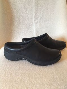 47cccffe5 New Merrell Leather Womens Moc Clog Ortholite Shoes Size 7 Black  fashion   clothing