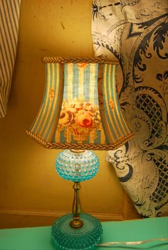 Small lamp shade nautical lampshade blue stripe vintage mangle cloth pretty pretty turquoise lamp shade lampshade french vintage by lampshadelady aloadofball Image collections