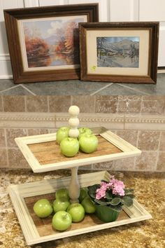 Create Tiered trays from frames ? Use laminate flooring for the bottom instead of pallet wood