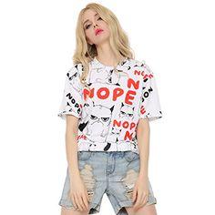 93fd02ab53b Kawaii Moon Printing T-shirt Summer Casual Short Sleeve Tee Women O Neck  Top at Amazon Women s Clothing store