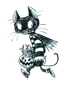Inktober Cat by Robb Mommaerts on Love Illustration, Digital Illustration, Halloween Illustration, Ink Doodles, Halloween Drawings, Halloween Crafts, Art Challenge, Pretty Art, Drawing Sketches