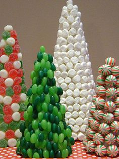 Christmas Candy Trees maybe to go with our gingerbread house! Unique Christmas Decorations, Tabletop Christmas Tree, Christmas Tree Crafts, Christmas Goodies, Christmas Treats, Holiday Fun, Christmas Holidays, Xmas Trees, Holiday Candy