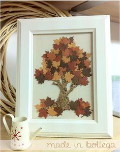 quadro decorativo dedicato all'autunno realizzato in sughero e carta