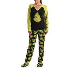 Women's Grinch Plush Long Sleeve and Fleece Footed Pant Pajama Set: Intimates : Walmart.com