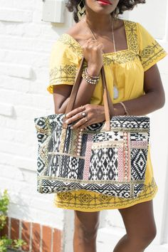 34984267dcf0 Black and white printed tote with metallic mirrored embroidery. Crossbody  Clutch, Tote Purse,
