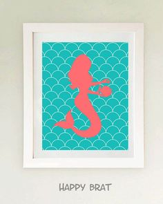 Mermaid Art Coral and TurquoiseMermaid Print Modern by HappyBrat, $14.00