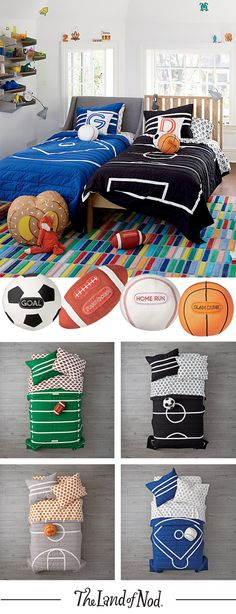 Our 100% cotton Nod Sports Bedding makes it easy to decorate any sports themed kids bedroom.