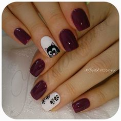 Here kitty, kitty. Cat Nail Art, Cat Nails, Nail Art Diy, Fancy Nails, Love Nails, Pretty Nails, Shellac Nails, Acrylic Nails, Gel Nail Art Designs
