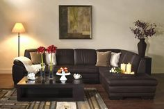 Baxton Studio Diana Brown Leather Modern Sectional Sofa W Chaise Living Room