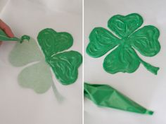 Great idea!  Melt some Candy Melts and add to a frosting bag. Cut the tip off and trace the clover. Leave it to dry for at least 30 minutes. Once it's dry you can gently remove the clover from the paper and add it to your cake.