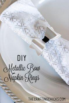 DIY Metallic Bow Napkin Rings *Cricut Explore   Tablescape   Thanksgiving   Christmas