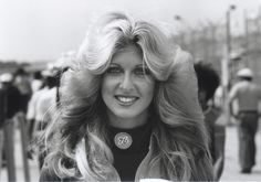 Circa 1974 – 1978 ~ The Hair Gods were smiling down on her hard, Daytona Beach ~ image by Regis Decobeck Daytona Beach Bike Week, Daytona Beach Florida, Linda Vaughn, Hair With Flair, 70s Hair, Beach Images, Hair Creations, Hairstyle Look, Lady Biker