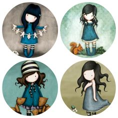 Gorjuss, as bonecas Santoro sem rosto by Suzanne Woolcott Fairy Sketch, Bottle Cap Crafts, Atc Cards, Bottle Cap Images, Cute Illustration, Art Sketchbook, Applique Designs, Pretty Pictures, Cute Art
