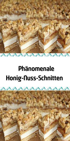 Phänomenale Honig-Nuss-Schnitten Backen, Rita, Backen Phenomenal honey-nut slices that melt on the tongue. The recipe I found on the . Dessert Simple, Easy Smoothie Recipes, Snack Recipes, Homemade Frappuccino, Honey Cake, Coconut Milk Smoothie, Pumpkin Spice Cupcakes, Food Shows, Food Cakes
