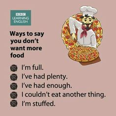 Ways to say you don't want more food - Expressions for when you've eaten enough (and don't forget to thank whoever is offering you food) English Learning Spoken, Learn English Grammar, English Writing Skills, Learn English Words, English Language Learning, Education English, English Lessons, Teaching English, English Sentences