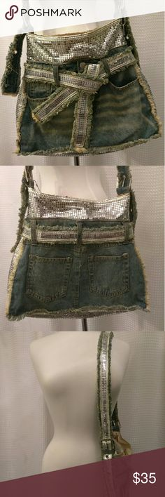 Vintage sequin & denim bag Denim and sequin bag, has 2 pockets on the back of bag that resemble that of a pair jeans. Sequin belt that wraps around the bag. Bags Shoulder Bags