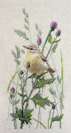 New Sealed Modern Cross Stitch Embroidery Leaf Warbler Little Cross Stitch Pillow, Cross Stitch Needles, Cross Stitch Bird, Cross Stitch Flowers, Cross Stitching, Embroidery Leaf, Cross Stitch Embroidery, Modern Cross Stitch Patterns, Cross Stitch Designs