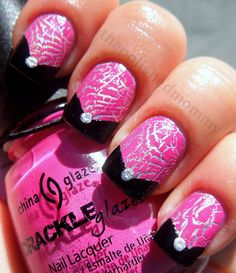 pink silver crackle nail art with black tips and accent