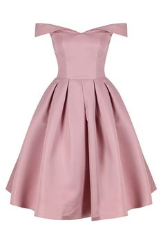 Absolutely Stunning Bardot Midi Dress The Perfect Sophisticated Special Occasion Dress A Modern Twist On A Vintage Style Features A Fitted Bodice & Flared B Bardot Style Dress, Bardot Midi Dress, Pink Midi Dress, Midi Dresses, Prom Dresses, Girly Outfits, Pretty Outfits, Pretty Clothes, Casual Outfits