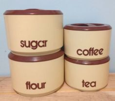 Vintage sterlite kitchen #canisters 1970s brown #cream #retro font,  View more on the LINK: 	http://www.zeppy.io/product/gb/2/331566521158/