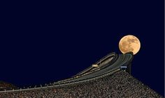 Picture of moon from Atlantic Ocean Road in Norway. It has been rated as the best road trip by the BBC. Close to the North Pole, the moon looks like a big ball. Atlantic Road Norway, Atlantic Ocean, Beautiful Moon, Beautiful World, Beautiful Places, Beautiful Scenery, Beautiful Landscapes, Beautiful Norway, Beautiful Roads
