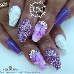 Purple, Lavender & White Nails  Sculptured Acrylic with @gellyfitaustralia…