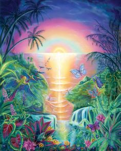 To view more Visionary Artwork and purchase Giclees , Greeting Cards and Fine Art Lithographic Prints, Please visit Artistry Tab from the menu Art Visionnaire, Paradise Pictures, Butterfly Pictures, Mermaid Pictures, Paradise On Earth, Tropical Landscaping, Visionary Art, Celestial, Beautiful Paintings