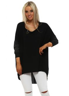 A POSTCARD FROM BRIGHTON Shirty Black Contrast Tail Back Tunic Top