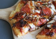 pepperoni-pizza, use GF pizza crust... This pizza is delicious! Especially the home made sauce.