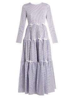HUISHAN ZHANG Minna bow-trimmed checked midi dress