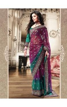 Exquisite Wine & Teal shaded shimmer georgette saree.
