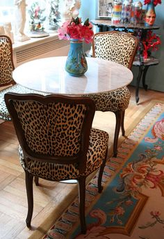 Love the leopard chair. Decor, Furniture, Interior, Home, Dining Room Chairs, Chair, Dining Chairs, Furnishings, Animal Print Decor