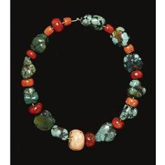 A NAGA TURQUOISE AND CORAL NECKLACE, NAGALAND, NORTH-EAST INDIA