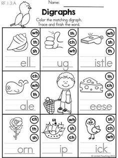 Spring Digraphs >> Color or dot the matching digraph. Then write the word. >> Part of the Spring Kindergarten Literacy Worksheets packet