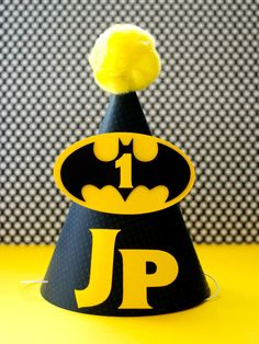 Batman Inspired Birthday Party Hat   by prettypaperparty on Etsy, $7.50