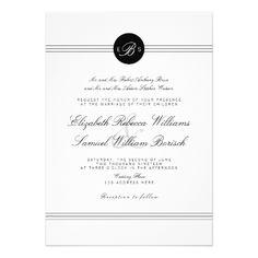 Elegant Chic Black White Monogram Wedding Invite