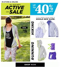 """Old Navy did a fun New Years email, similar to Fabletics - """"It's a new year and a whole new game"""" with outfits for hiking and running. I love the idea of these!"""