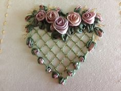 Helen Eriksson ''Garden Party'' - Beautiful silk ribbon blooms showcased a floral sampler of nine squares, this heart being one of them.