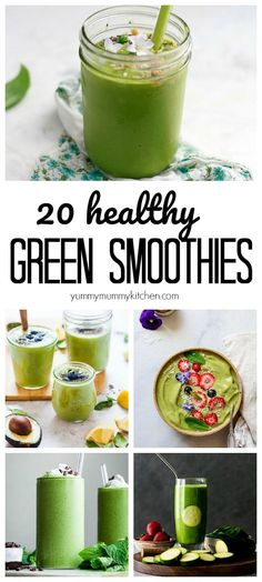 Over 20 delicious vegan green smoothies made with e… BEST Green Smoothie Recipes. Over 20 delicious vegan green smoothies made with everything from kale to spinach, matcha, spirulina, and even zucchini! Smoothie Bowl Vegan, Smoothies Detox, Smoothie Vert, Green Detox Smoothie, Healthy Green Smoothies, Apple Smoothies, Good Smoothies, Healthy Detox, Smoothie Cleanse