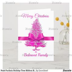 Shop Pink Fuchsia Holiday Tree Ribbon Bow Custom Name created by LeonOziel. Holiday Tree, Holiday Cards, Christmas Cards, Ribbon Bows, Create Your Own, Place Card Holders, Seasons, Modern, Prints
