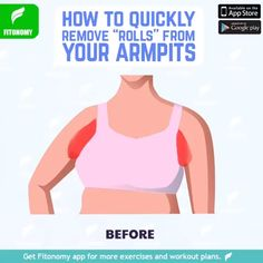 Many people feel that they have armpit fat if youre one of those people check out these workouts and learn how to get rid of your armpit fat! Fitness Workouts, Arm Workouts At Home, Weight Training Workouts, Toning Workouts, 8 Minute Ab Workout, Back Fat Workout, Armpit Fat, Flexibility Workout, Workout Challenge