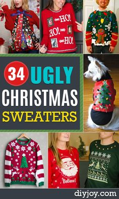 DIY Ugly Christmas Sweaters - Christmas Tree Ugly Sweater - No Sew and Easy Sewing Projects - Ideas for Him and Her to Wear to Holiday Contest or Office Party Outfit - Funny Couples Sweater, Mens Womens and Kids Funny Christmas Outfits, Diy Ugly Christmas Sweater, Ugly Sweater Party, Diy Christmas Gifts, Christmas Humor, Red Christmas, Xmas, Bachelorette Outfits, Cocktail Party Outfit
